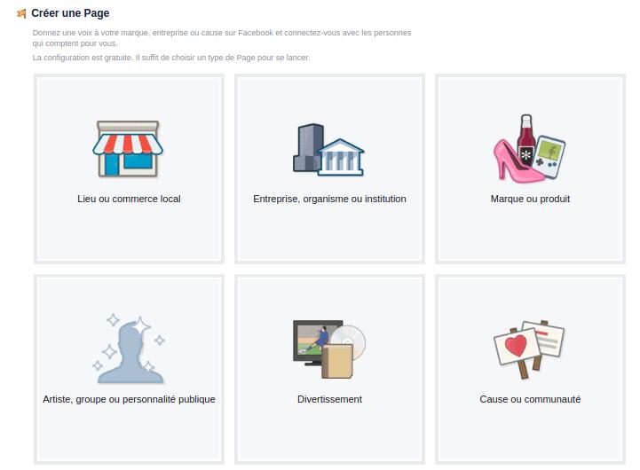 Formulaire de création de page facebook